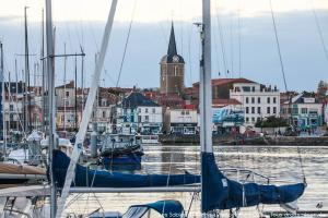 Photo de la chaume au travers du port des sables d'olonne