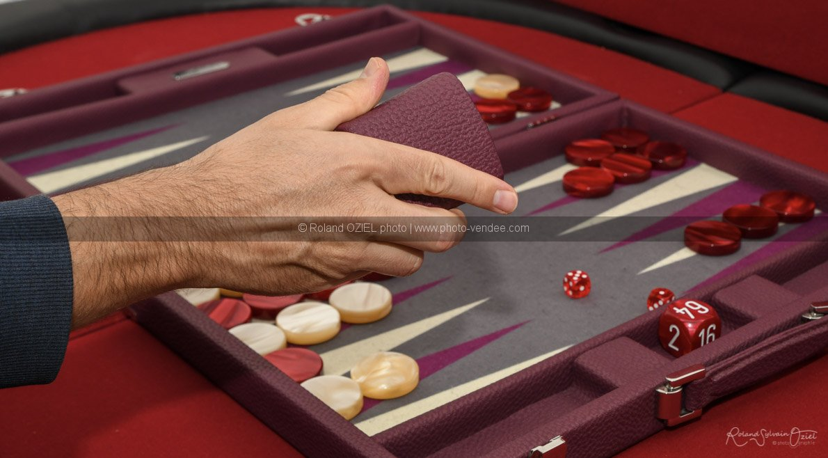 Photo lance dé sur backgammon